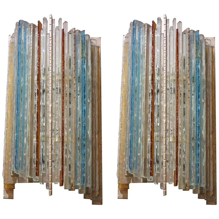 Pair of Albano Poli For Poliarte Italian Blue and Multi-Color Glass Sconces  1