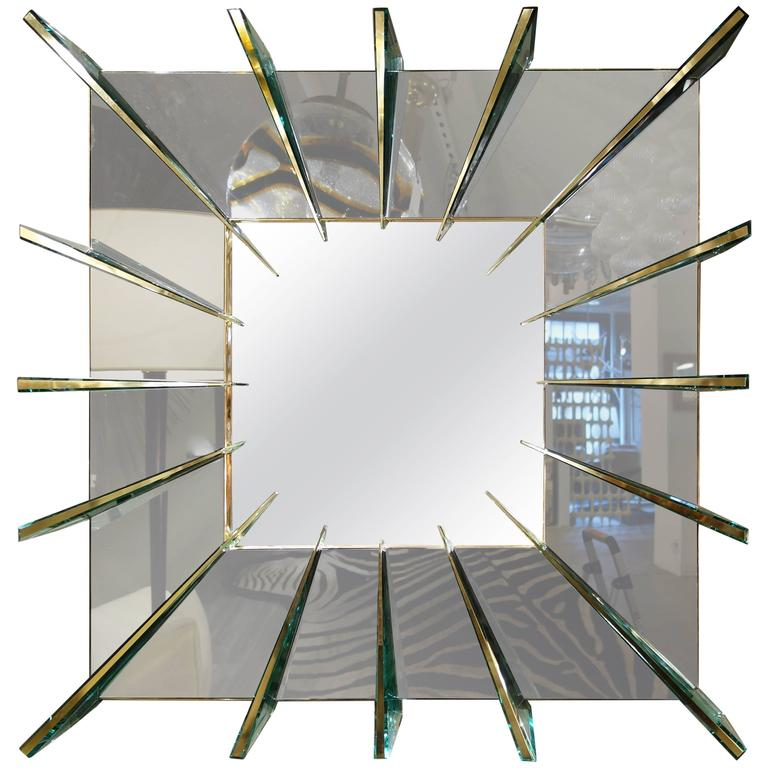 "Ghiro Studio ""Dominik,"" Smoke Gray Mirror with Brass Faced Spikes  For Sale"