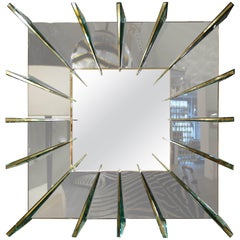 "Ghiro Studio ""Dominik,"" Smoke Gray Mirror with Brass Faced Spikes"