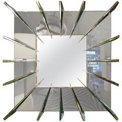 """Dominik,"" Smoke Gray Mirror with Brass Faced Spikes by Ghiro Studio"
