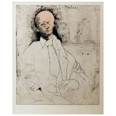 "Jim Dine Original Hand Colored Etching, Self Portrait, 1976, ""The Die Maker"""