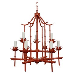 1970's Faux Bamboo Pagoda Chandelier