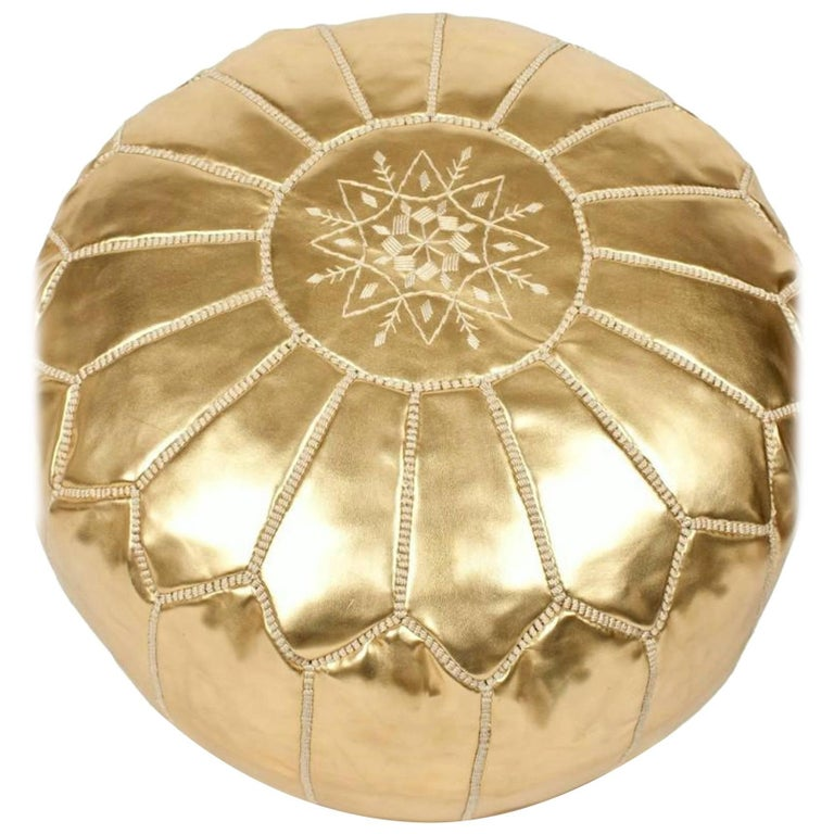 Moroccan Gold Color Hand Tooled Pouf Ottoman