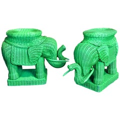 Pair of Chinese Export Polychromed Wicker Elephant Garden Seats