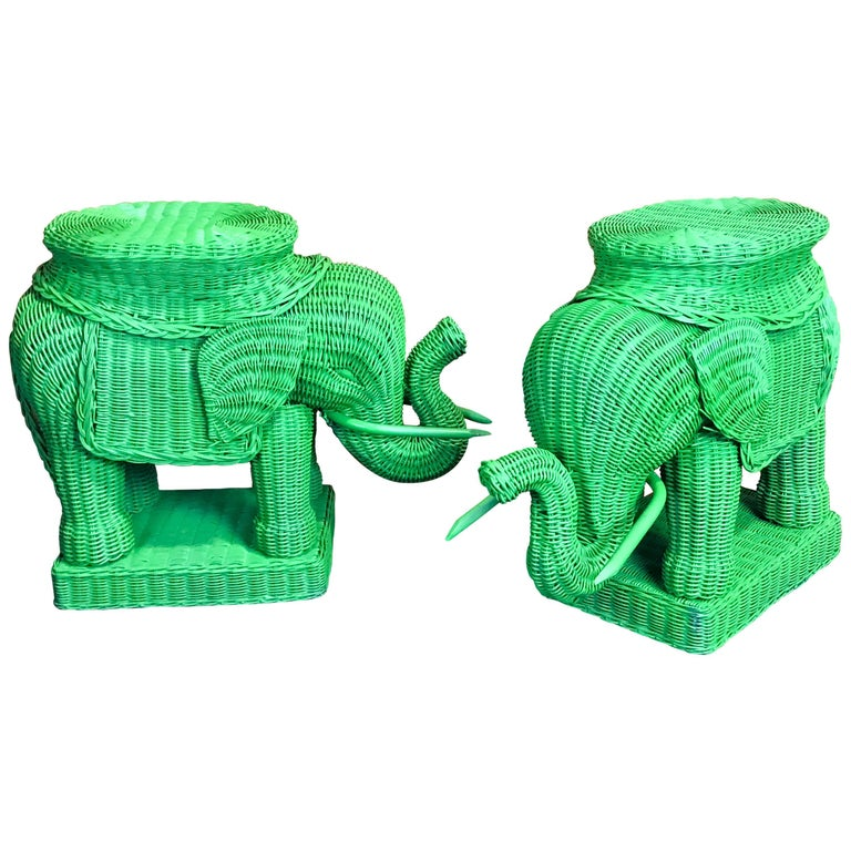 Pair of Chinese Export Polychromed Wicker Elephant Garden Seats For ...
