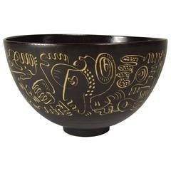 Mid-20th Century Edwin Scheier Brown Glazed Ceramic Bowl