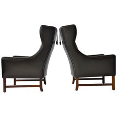 Pair of Frederik Kayser Leather Wing Chairs