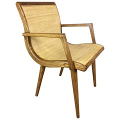 Oak Slipper Chair with Cane Sling