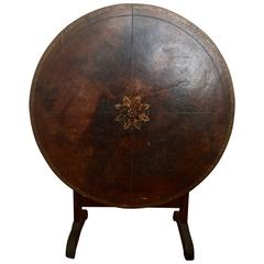 French 19th Century Leather Top Champagne Table
