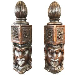 Pair of Impressively Sized and Expressive Hand-Carved Antique Newel Posts