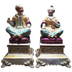 Chinoiserie Pair of French 19th Century Porcelain Perfume Bottles