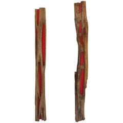 Pair of Reclaimed Wood Log Sculptures by Valeria Totti