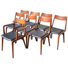 Set of Eight Erik Christensen Teak Boomerang Dining Chairs for Slagelse