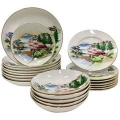 "Mid-Century Japanese Kutani ""Mt. Fuji"" Dinnerware, Set of 21"
