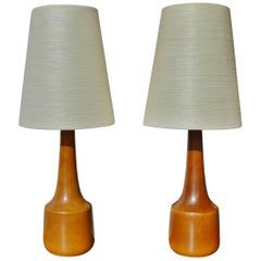 Pair of Caramel Ceramic Lamps by Lotte & Gunnar Bostlund