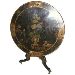 Chinoiserie 19th Century Black Lacquer Table