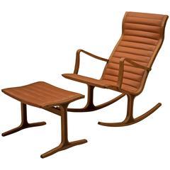 Vintage Tendo Mokko Heron Rocking Chair and Ottoman