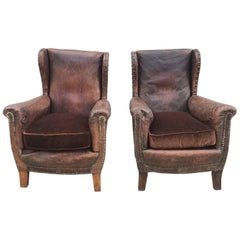 Beautiful French Leather Antique Club Chairs