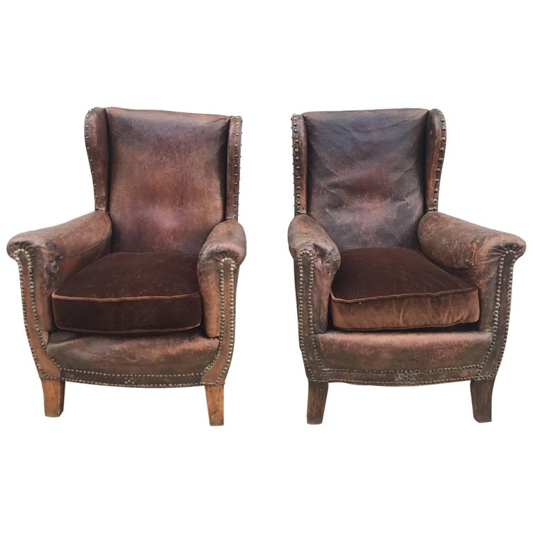 Beautiful French Leather Antique Club Chairs For Sale - Beautiful French Leather Antique Club Chairs For Sale At 1stdibs
