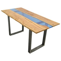 Organic Modern Natural Live Edge Resin River Dining Table on Steel base