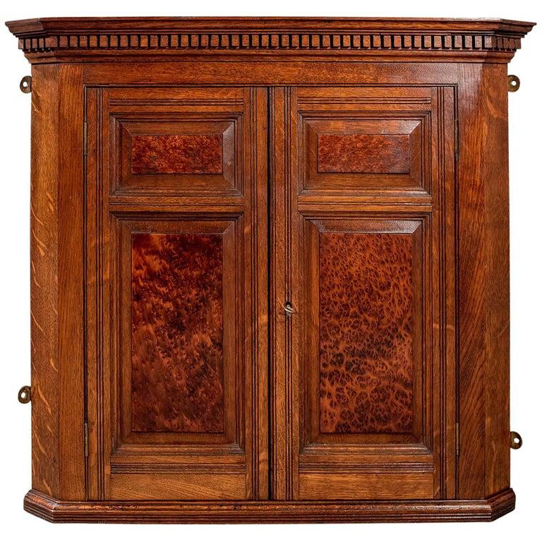 Antique Small Corner Wall Cabinet Cupboard Oak & Amboyna Edwardian, circa  1910 For Sale - Antique Small Corner Wall Cabinet Cupboard Oak And Amboyna