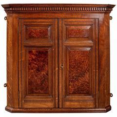 Antique Small Corner Wall Cabinet Cupboard Oak & Amboyna Edwardian, circa 1910
