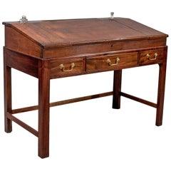 Antique School Masters Desk, English, Georgian, Mahogany, Circa 1800