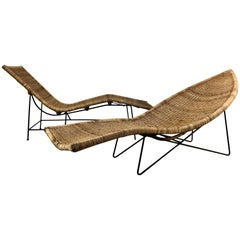 "Classic Modernist Pair of John Salterini Wicker and Iron ""Fish"" Chaise Lounges"