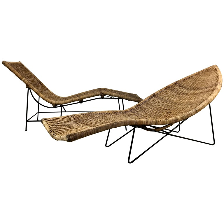 """Classic Modernist Pair of John Salterini Wicker and Iron """"Fish"""" Chaise Lounges"""