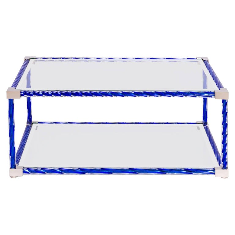 Italian Cocktail Table in Blue Murano Glass, 1990s