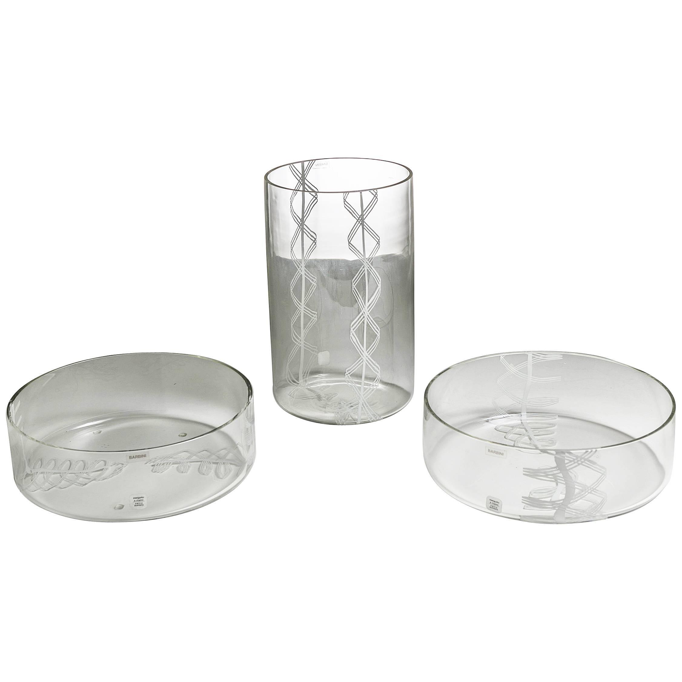 Set of Three Vases by Barbini