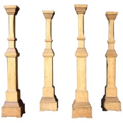 Set of Four Early 20th Century Wooden Candlesticks or Holders