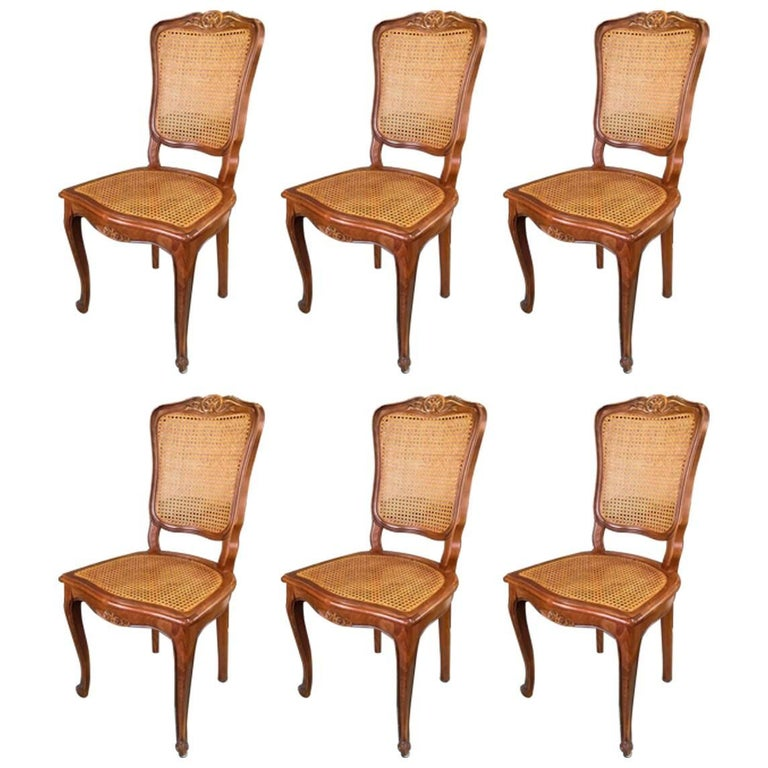Set of Six French Carved Walnut Dining Chairs in Style of Louis XV