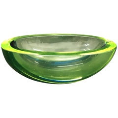 Vintage Green and Blue Murano Glass Bowl, circa 1970