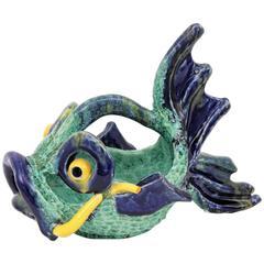 Italian 1950s Colorful Glazed Ceramic Fish Sculpture