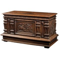 Mid-18th Century Finely Carved Oak Kist or Coffer
