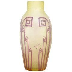 Große Polychrome Art Deco Vase von Legras