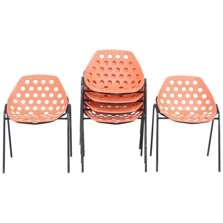 Set of Six Coquillage Stacking Chairs by P. Guariche for Meurop For Sale
