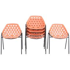 Set of Six Coquillage Stacking Chairs by P. Guariche for Meurop