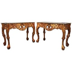Pair of Vintage Asian Heavily Carved Giltwood Marble Top Console Tables