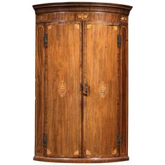 George III Period Bowfront Corner Cupboard with Satinwood Marquetry Inlays