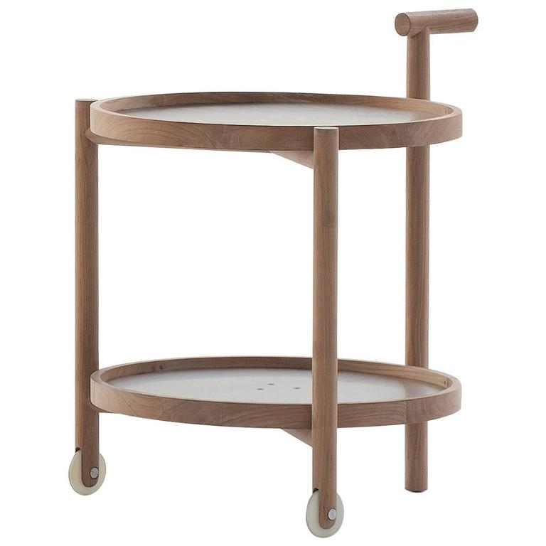 Roda Caddy Bar Trolley for Outdoor/Indoor Use in Teak and Stainless Steel For Sale