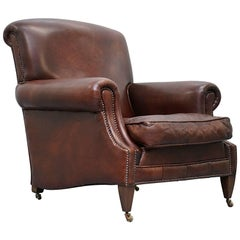 RRP £5800 Custom-Made George Smith Club Armchair Aged Brown Leather Hand Studded