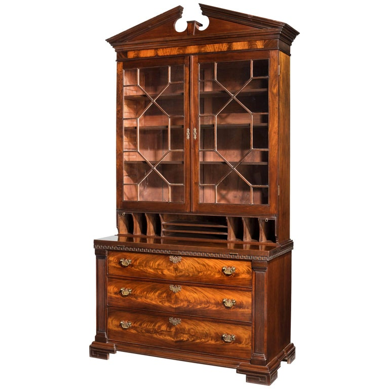 Chippendale period mahogany secretaire bookcase with well fitted interior