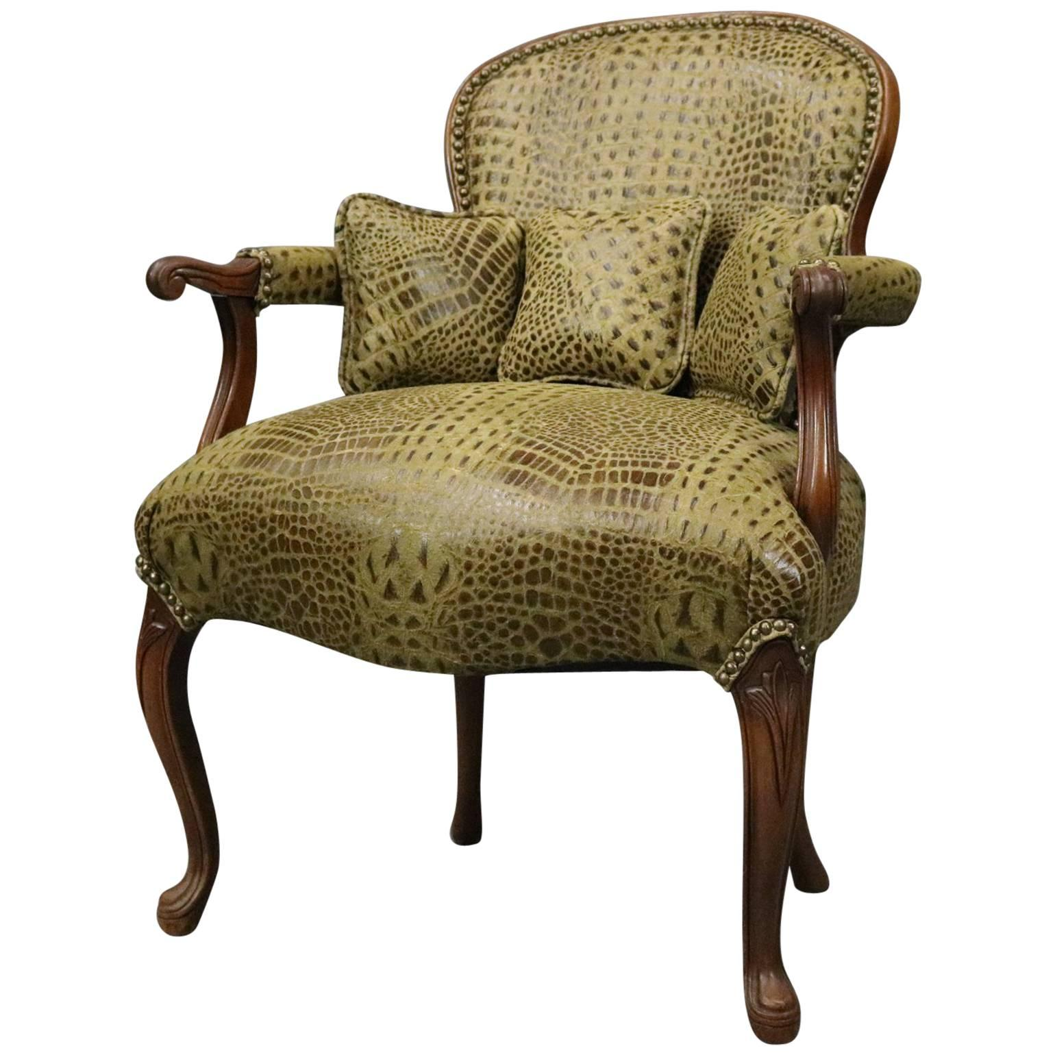 Attractive Vintage French Alligator Print Leather Louis XV Style Armchair And Ottoman  For Sale