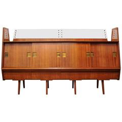 20th Century Italian Sideboard 1960s Made of Teak, Brass, Glass and Mirror