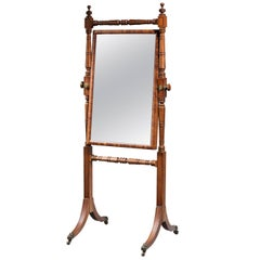 George III Period Mahogany Cheval Mirror the Edge of the Plate Crossbanded