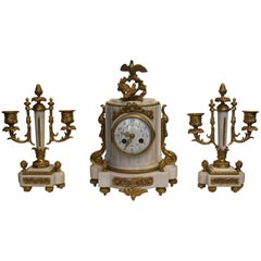 Early 20th Century White Marble Clock Garniture