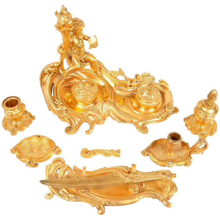 Louis XVI Style Ormolu Desk Set in the Manner of Linke