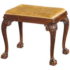 George III Style Walnut Footstool Terminating on Claw and Ball Feet